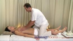 Massage Rooms Big natural tits oiled up before girls get deep hard pumping
