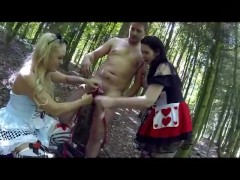 Preview scene 3 Sookie in fuckland Drink me! GGB threesome. bj in woods
