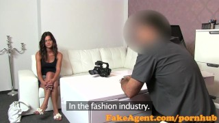 Preview 1 of FakeAgent Shy brunette plays hard to get in casting