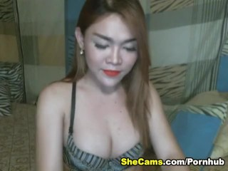 Busty Shemale Jerking Dick