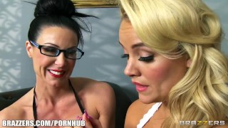 Kendra gets a lesson in femdom and strap-on anal  strap on big tits babe lesbians femdom blonde mom domination milf hardcore brunette cougar fingering mother anal sex toys girl on girl brazzers hotandmean