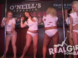 sexy girls striptease naked on stage and one very cheeky blowjob backstage