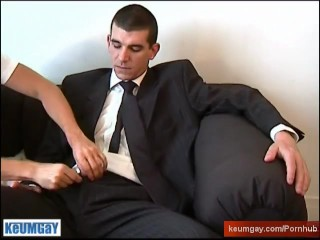 A real straight guy in suitetrousers get wanked is verty huge cock by a guy