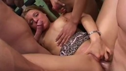 Wild babe gets group hard sex with many cocks oral