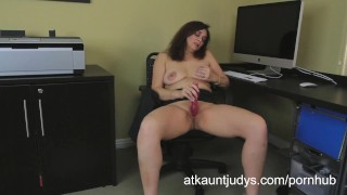 atkauntjudys.com mom mother masturbate masturbating office secretary heels toys vibrator orgasm fingering strip big tits