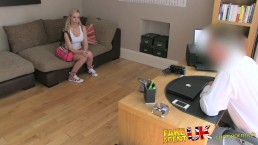 FakeAgentUK Cute big titted blonde gets eyes glued shut after facial