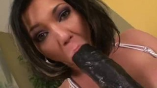 Busty babe Claire filling her pussy with a giant dildo