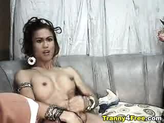 Tranny in G-string Masturbating