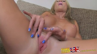 FakeAgentUK Busty MILF and her magic pussy causes premature problems fakeagentuk audition homemade clit rubbing mom british office cumshot mother deepthroat bubble-butt huge-tits reality casting interview doggystyle
