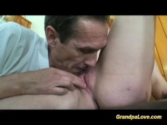 Horny grandpa fucking her student and giving her cum
