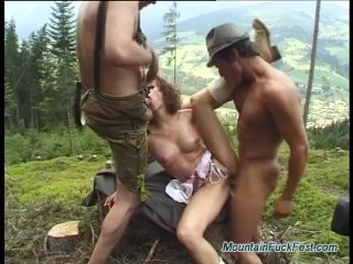 Nasty babe gets mountain fuck fest in the green woods