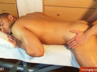 A sexy athletic arab guy get wanked his huge cock in spite of him !