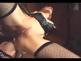 Facesitting and fucking in sexy fishnet stockings garter belt and a corset