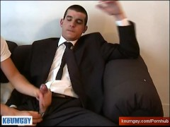 A suite trousers straight guys get wanked his very huge cock bu a guy !