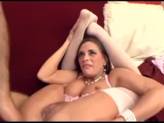 Busty mom fucking in sexy thigh high stockings and a pink teddy