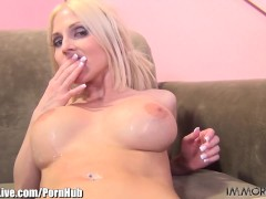 Naughty Christie Stevens is fucking for her fans on cam!