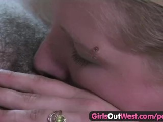 Lesbian Girls Chicks video: Girls Out West - Hot lesbian chicks with hairy cunts