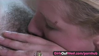 Girls Out West - Hot lesbian chicks with hairy cunts