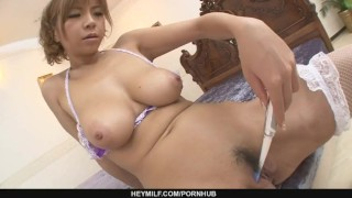 Big Titted Sumire Matsu Squirts From Masturbating  big tits masturbation babe dildo asian mom solo fetish toys squirting japanese mother orgasm heymilf