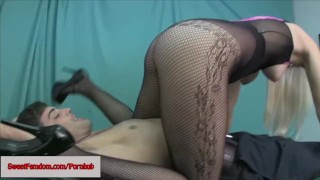 Macy Cartel Kinky Femdom Comp FACE SITTING PANTYHOSE FISHNETS EDGING POV  ass worship sweetfemdom.com point of view humiliation facesitting booty femdom blonde fishnets sneakers smother kinky butt tights foot worship natural tits ass licking hooters