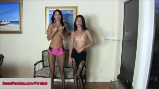 Esmi Lee and Alexa Rydell Femdom Comp DOUBLE DOM PEGGING EDGING PANTYHOSE  strap on sweetfemdom.com ass pegging raven babe leggings cumshot skinny fishnets toys kink kinky brunette petite anal ballbusting natural tits girl on girl girlongirl