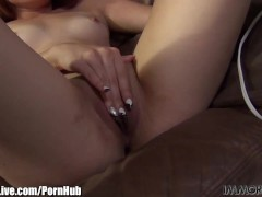 Shy red hair Asian girl wants to be a porn star! Vote for her!