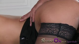 StrapOn Young blonde with big tits has both holes stretched by boyfriend  strap on ass fuck female orgasms ass fucking natural dp strapon kissing dildo sensual orgasms romantic oral sex sex toy female friendly