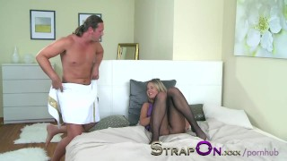 StrapOn Anal creampie for passionate girl after her wet holes are filled  czech strap on cream pie ass fuck strap on guy adult toys sex toy ass fucking creampie strapon small tits cum