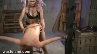 Wasteland FemDom Goddess Starla Spanks, Paddles and fucks Ava with Strapon  small tits lesbian very skinny squirting orgasm spanking strapon bdsm dildo femdom goddess starla fetish paddling latex lesbian lesbian domination redhead lesbian lesbian bdsm wasteland.com