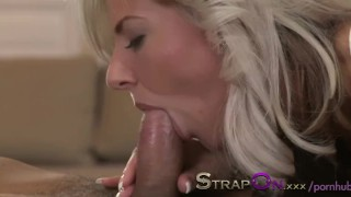 StrapOn Stunning blonde pegging her ripped boyfriend  strap on pegging guy pegging his ass pegging natural strapon dildo cumshot orgasms anal sex european anal orgasm pegging strapon sex toy