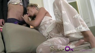 StrapOn Beautiful girl in white lace DP anal as BF wears cock ring strap  female orgasms sex-toy natural dp strapon kissing dildo female-friendly strap-on sensual ass-fuck orgasms czech ass-fucking small-tits romantic adult toys