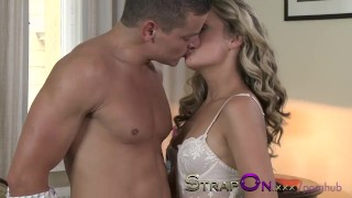 StrapOn Beautiful girl in white lace DP anal as BF wears cock ring strap sex-toy dildo strap-on sensual natural ass-fuck orgasms dp strapon small-tits romantic kissing female-orgasms female-friendly adult-toys czech ass-fucking
