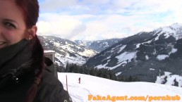 FakeAgent Sex casting on a skiing holiday off duty agent