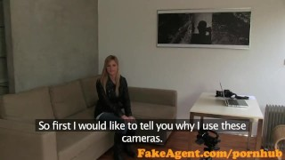 FakeAgent First time facial for cute blonde cumshot fakeagent homemade pov point-of-view reality casting blonde office interview facial