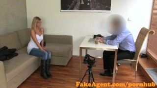 FakeAgent First time facial for cute blonde  reality office interview facial point of view fakeagent homemade cumshot pov casting blonde