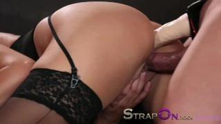 Strapon Babe in black stocking and suspenders gets DP from strapon cock  ass fuck ass fucking strapon blonde blowjob small tits sensual czech dp adult toys oral sex sex toy double penetration