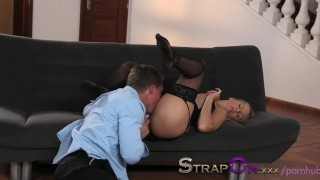 Strapon Babe in black stocking and suspenders gets DP from strapon cock  ass fuck ass fucking dp strapon blonde blowjob small tits sensual czech adult toys oral sex sex toy double penetration