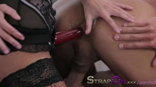 Strapon Ripped euro guy gets ass fucked by his sexy girlfriend sex-toy oral-sex cumshot pegging sensual ass-fuck european strapon adult-toys ass-fucking