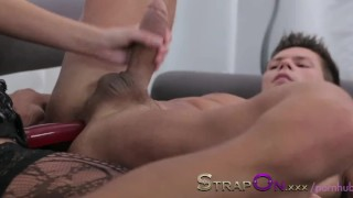 Strapon Ripped euro guy gets ass fucked by his sexy girlfriend cumshot pegging sensual sex toy oral sex european ass fuck strapon ass fucking adult toys