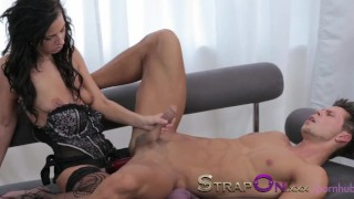 Strapon Ripped euro guy gets ass fucked by his sexy girlfriend  sensual european ass fuck adult toys sex toy oral sex ass fucking pegging strapon cumshot