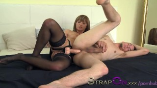 StrapOn She takes pleasure in pegging her man  anal sex anal european ass fuck pegging guy ass fucking pegging strapon peging his ass