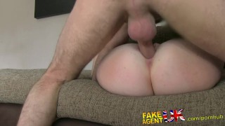 FakeAgentUK Attractive redhead gets surprise creampie in fake casting  homemade british audition amateur blowjob cumshot casting hardcore office reality interview doggystyle fakeagentuk