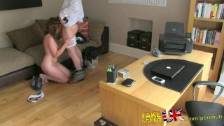 FakeAgentUK Attractive redhead gets surprise creampie in fake casting fakeagentuk audition homemade hardcore amateur british blowjob office cumshot reality casting interview doggystyle