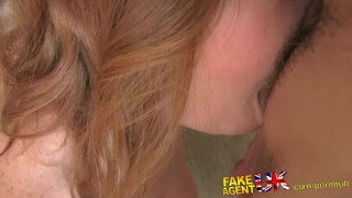 FakeAgentUK Attractive redhead gets surprise creampie in fake casting  homemade british fakeagentuk audition amateur blowjob cumshot casting hardcore office reality interview doggystyle
