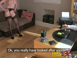 FakeAgentUK Stocking clad posh MILF willing to try it all on the casting