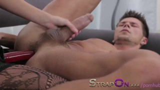 StrapOn Pegging masterclass from black haired beauty dildo pegging natural european female friendly orgasms strapon pegging his ass strap on sex toy romantic ass fuck female orgasms ass fucking adult toys