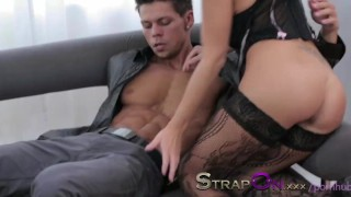 StrapOn Pegging masterclass from black haired beauty femdom dildo pegging natural european female-friendly orgasms strapon pegging-his-ass strap-on sex-toy romantic ass-fuck female-orgasms ass-fucking adult-toys