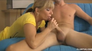 Preview 1 of Blonde Milf Jerks The Young Guy