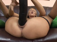 Sexy babe pounding her pussy with the biggest brutal dildo while squirting