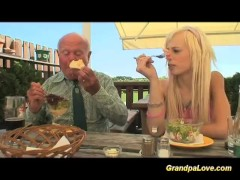 Blonde babe fucking an old guy and taking cumshot load
